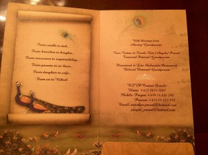 Inside of the Wedding Invitation